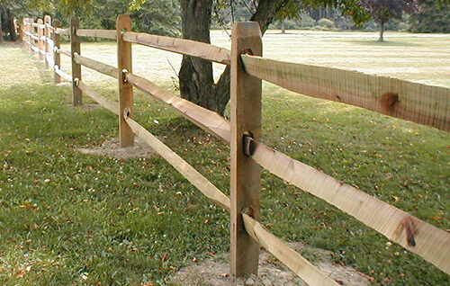 Post and rail fencing cedar split fence rustic
