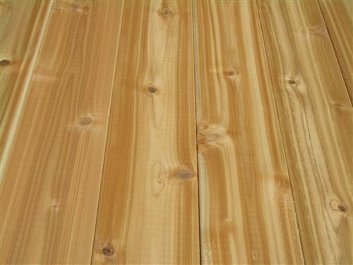 Western red cedar decking lumber
